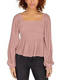 Juniors' Crochet-Sleeve Peasant Top