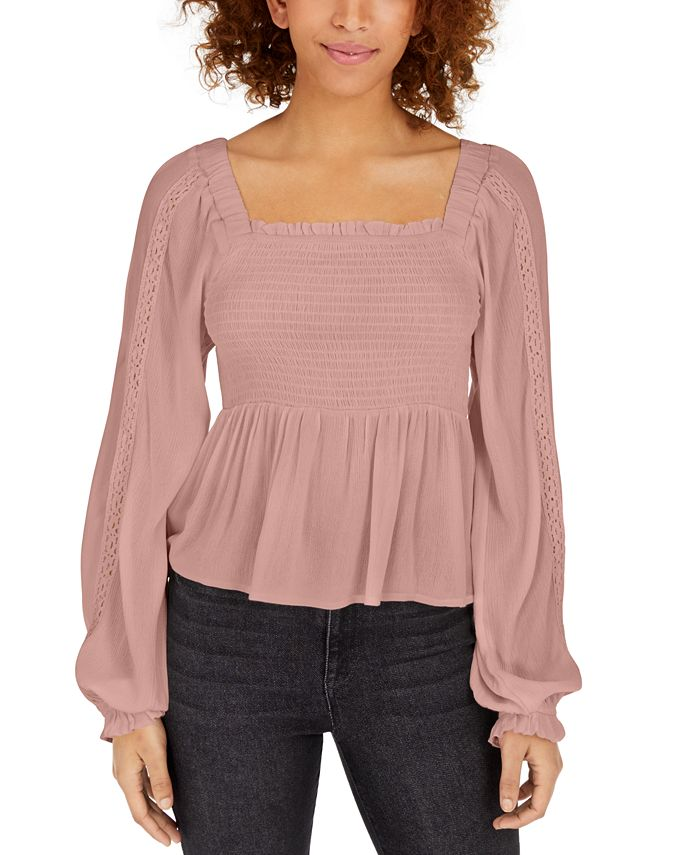 Polly & Esther - Juniors' Crochet-Sleeve Peasant Top