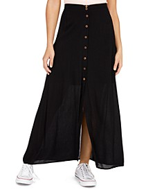 Juniors' Button-Front Maxi Skirt