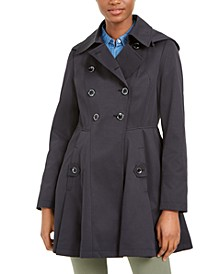 Double-Breasted Hooded Skirted Water-Resistant Trench Coat