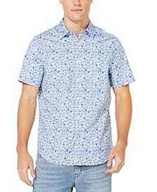 Men's Blue Sail Collection Floral Print Oxford Short Sleeve Shirt, Created for Macy's