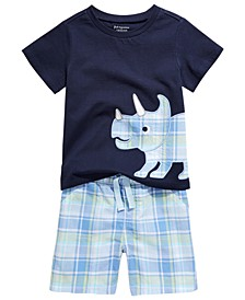 Toddler Boys Triceratops T-Shirt & Plaid Shorts Separates, Created For Macy's