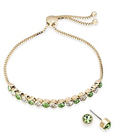 2-Pc. Set Crystal Birthstone Bolo Bracelet & Stud Earrings, Created for Macy's