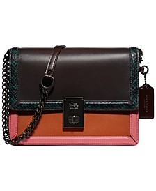 Colorblock Leather with Snake Trim Hutton Shoulder Bag