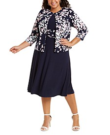 Plus Size Floral-Print Jacket & Ruched-Waist Dress