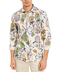 Men's Slim-Fit Stretch Thistle Flower Shirt