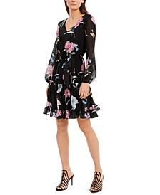 INC Floral-Print Clip-Dot Chiffon Dress, Created For Macy's