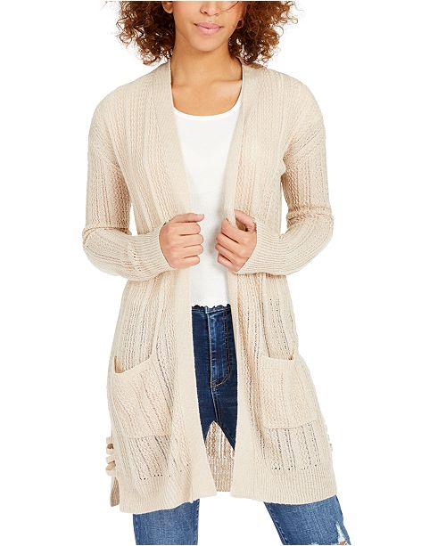 Hippie Rose Juniors' Pointelle Long Cardigan