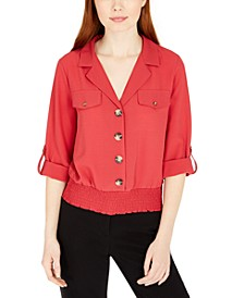 Juniors' Smocked Utility Top