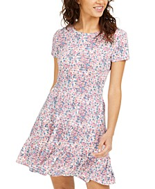 Juniors' Printed Tiered T-Shirt Dress