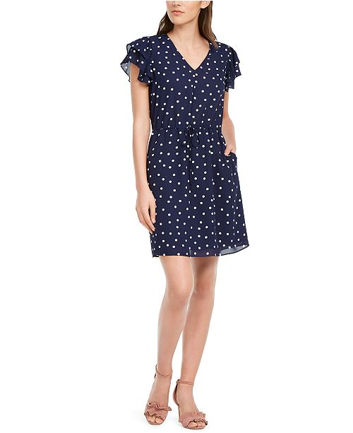 Maison Jules Printed Flutter-Sleeve Dress, Created For Macy's