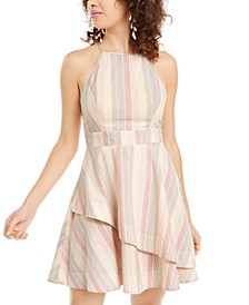 Juniors' Striped Asymmetrical Dress