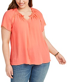 Plus Size Flutter-Sleeve Crinkle Top, Created for Macy's