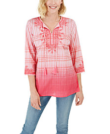 Charter Club Embroidered Printed Linen Tunic Top, Created for Macy's