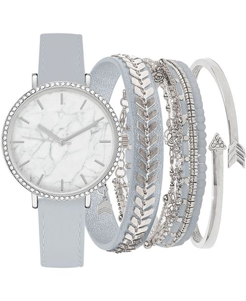Jessica Carlyle Women's Gray Faux Leather Strap Watch 38mm Gift Set