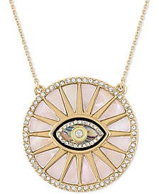 "Gold-Tone Pavé & Stone Evil Eye Burst Pendant Necklace, 20"" + 1"" extender"