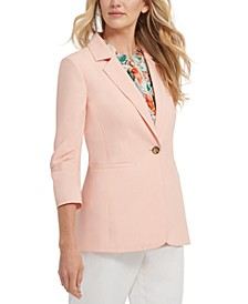Ruched-Sleeve Single-Button Blazer