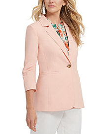 DKNY Petite Ruched-Sleeve Blazer