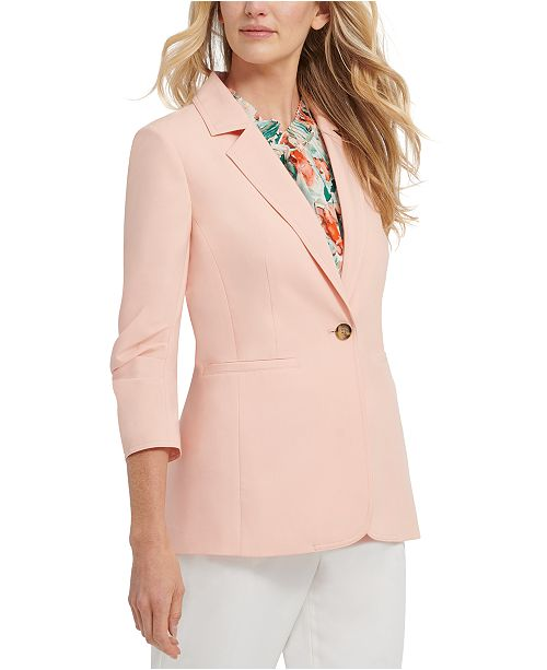 DKNY Ruched-Sleeve Single-Button Blazer
