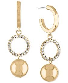 Gold-Tone Pavé Ring & Ball Charm Hoop Earrings