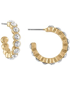 Gold-Tone Small Pavé Hoop Earrings, 1""