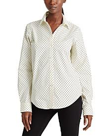 Petite Roll Tab Polka-Dot Shirt
