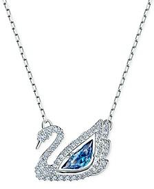 "Silver-Tone Cubic Zirconia Swan Pendant Necklace, 14-7/8"" + 2"" extender"