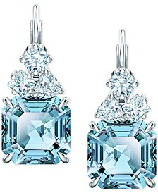 Silver-Tone Square Crystal Drop Earrings