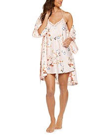 INC Floral-Print Wrap Robe & Lace-Back Chemise Nightgown, Created for Macy's
