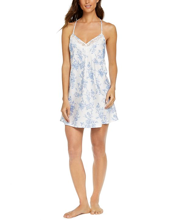 INC International Concepts INC Lace-Back Floral-Print Chemise Nightgown, Created for Macy's