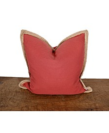 "Charlotte Jute Trim Square Decorative Pillow, 24"" x 24"""