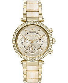 Women's Chronograph Parker Alabaster Acetate & Gold-Tone Stainless Steel Bracelet Watch 39mm