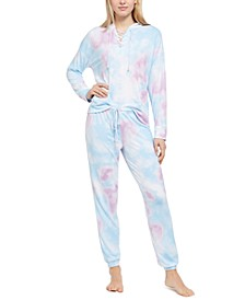 Printed Lace-Up Hoodie & Pants Pajama Set, Created For Macy's