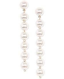 18k Gold-Plated Imitation Pearl Linear Drop Earrings
