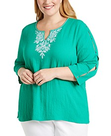 Plus Size Costa Rica Embroidered Top