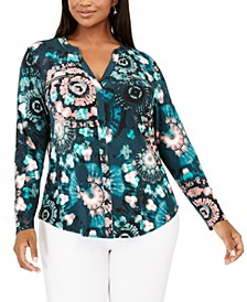 INC Plus Size Printed Split-Neck Top, Created for Macy's