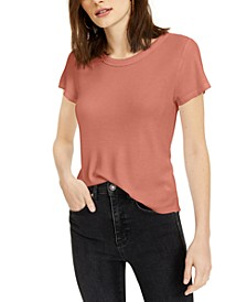 Juniors' Lace-Trimmed Waffle-Knit T-Shirt