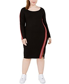 Trendy Plus Size Logo-Tape Bodycon Dress