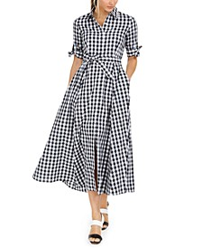 Cotton Gingham Midi Dress