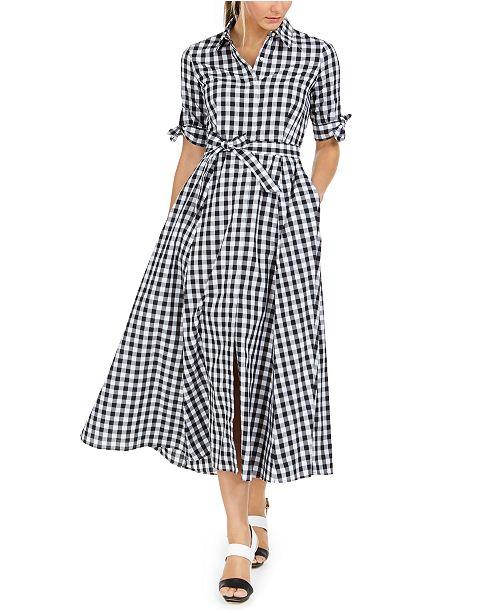 Calvin Klein Cotton Gingham Midi Dress