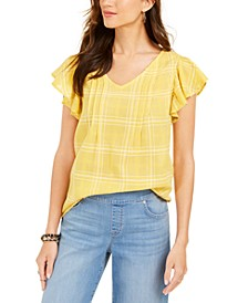 Cotton Plaid Flutter-Sleeve Top, Created for Macy's