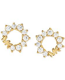 Sterling Silver Cubic Zirconia & Logo Stud Earrings