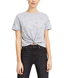 Juniors' Cropped Rainbow T-Shirt