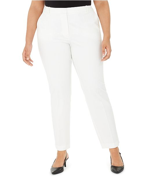 Alfani Plus Size Fly-Front Slim Pants, Created for Macy's