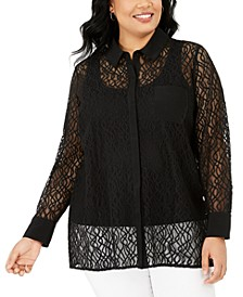 Plus Size Lace Button-Front Top, Created for Macy's