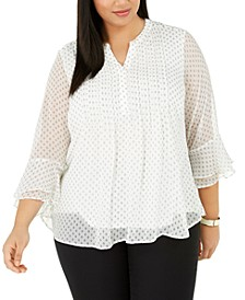 Plus Size Pleated Chiffon Blouse, Created for Macy's