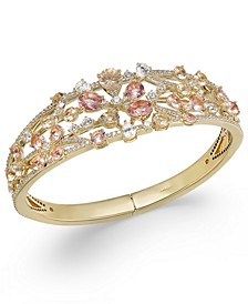 18k Gold-Plated Cubic Zirconia & Glass Flower Openwork Hinge Bangle Bracelet, Created for Macy's