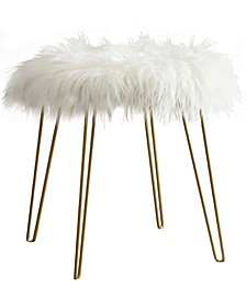 Modern Faux Fur Round Ottoman with Gold Metal Legs