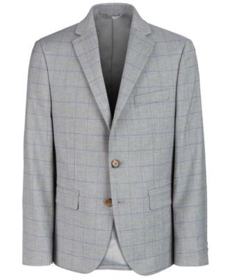 로렌 랄프로렌 Lauren Ralph Lauren Big Boys Classic-Fit Gray Windowpane Suit Jacket,Grey/teal