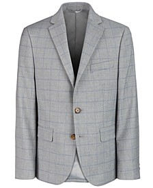 Big Boys Classic-Fit Gray Windowpane Suit Jacket